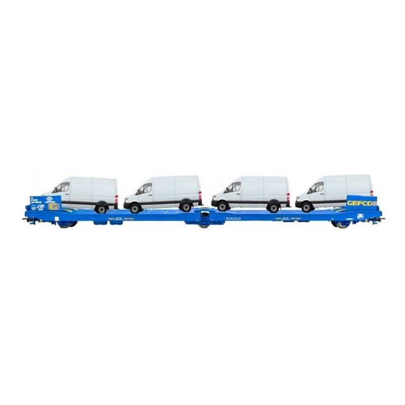 """Wagon SNCF surbaissé à 3 essieux transport de véhicule enseigne """"GEFCO"""""""