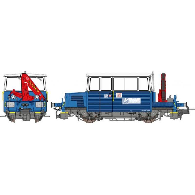 Draisine DU65 Sud-Est - avec grue et brosseuse - bleue/blanche - phare pincettes