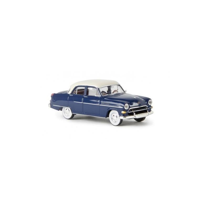 Opel Kapitan bleu saphyr / toit blanc - H0
