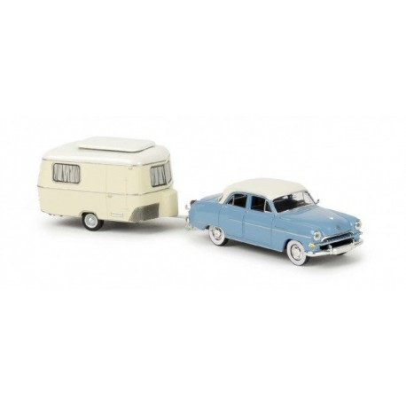 Opel Kapitan 1954 bleue / toit blanc + caravane Eriba - H0