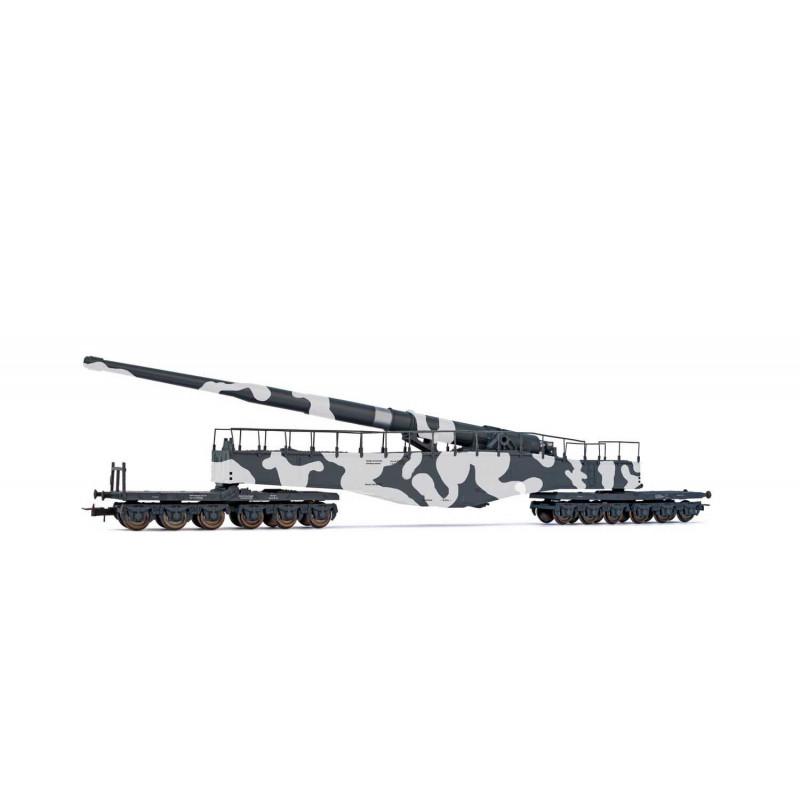 Canon sur rail K 5 Krupp de la Deutsche Reichsbahn - camouflage hiver