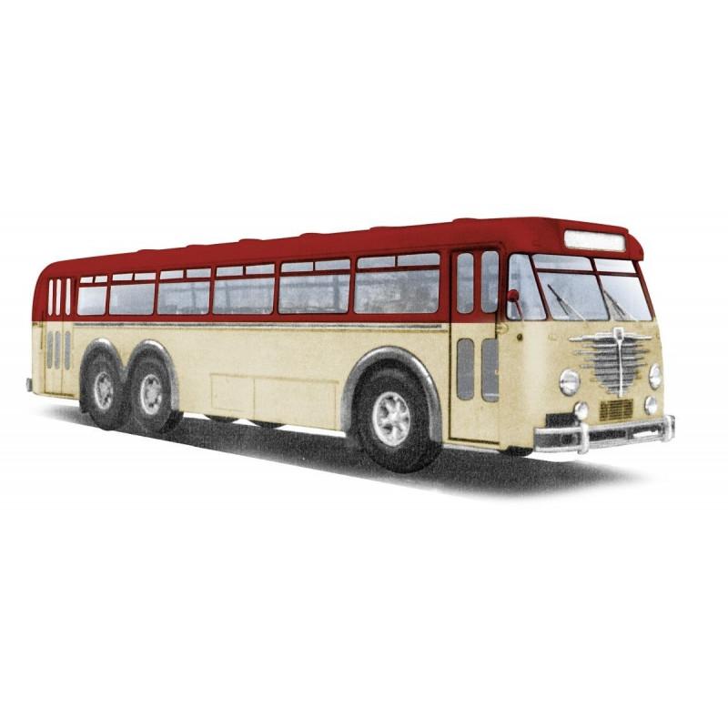 Autocar Büssing 12000 rouge rubis / crème - H0