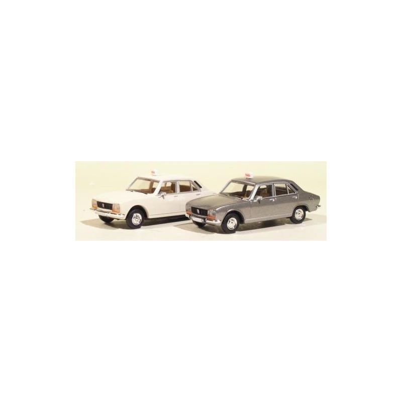 504 Peugeot taxis - blanc et gris métallisé - x2 - époque III - H0