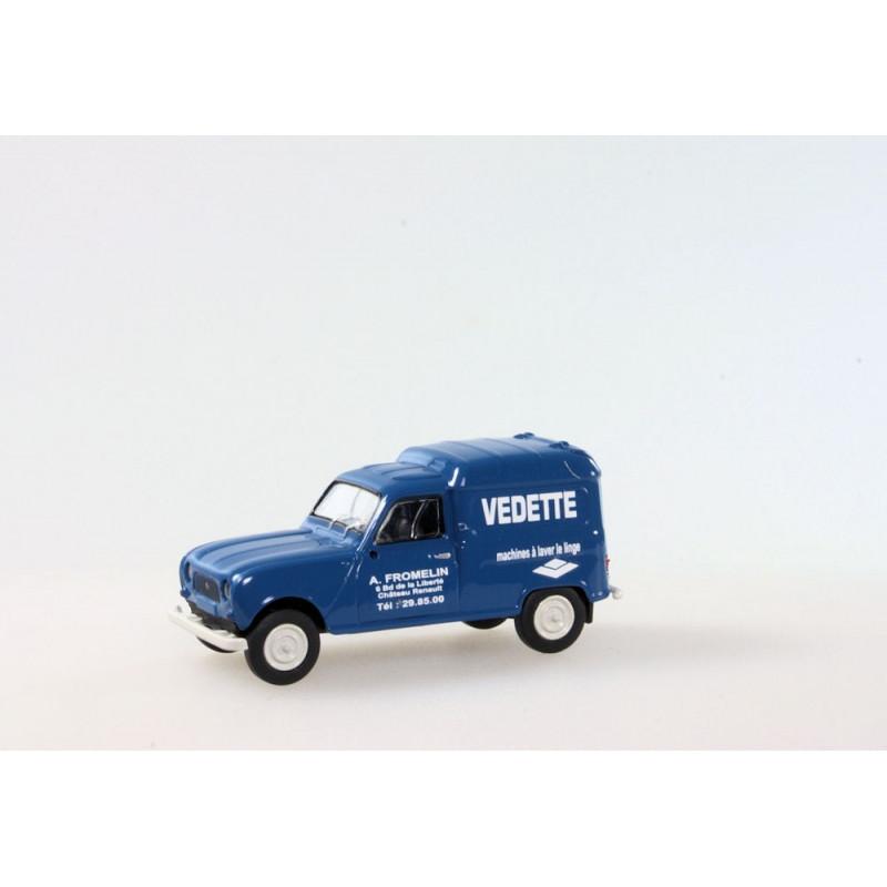 R4 fourgonnette enseigne Vedette 1961 bleue - H0