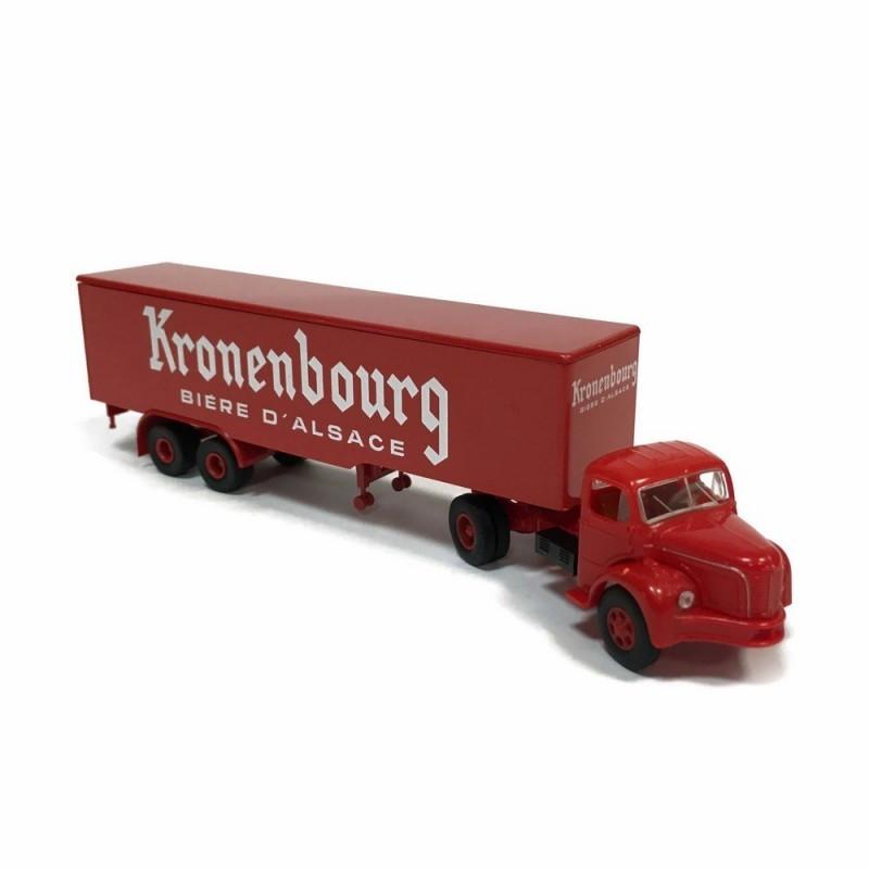 "Semi-remorque Berliet TLR 8 enseigne ""Kronenbourg"" - époque III - H0"