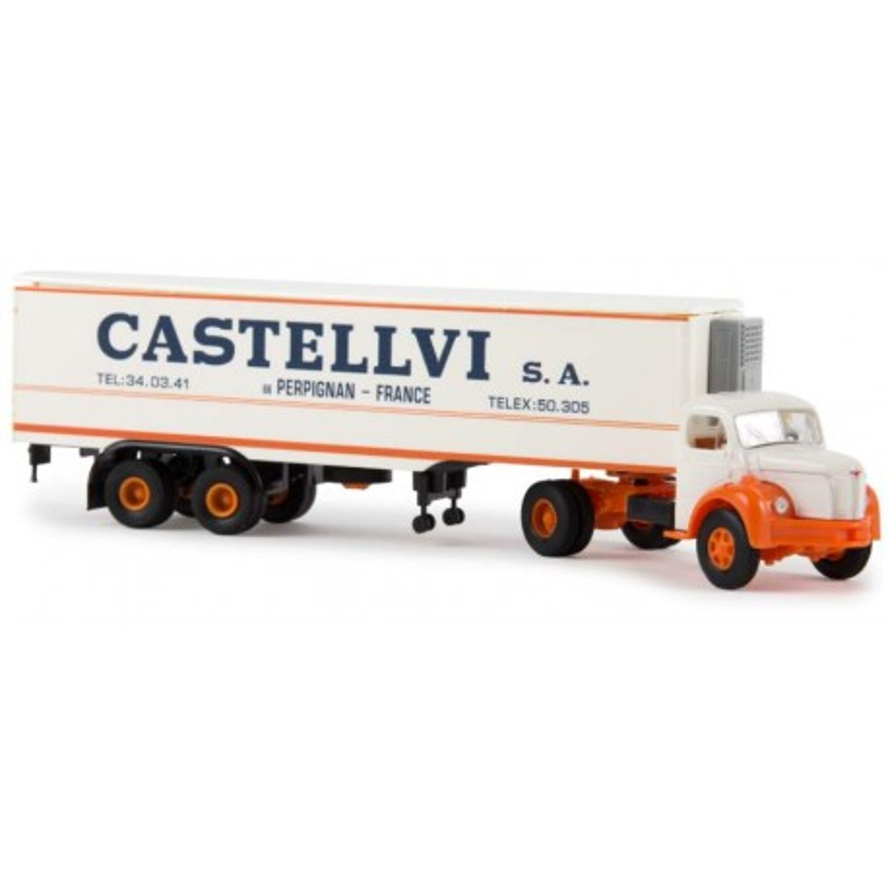 "Semi-remorque frigorifique Berliet TLR 8 enseigne ""Castellvi"" - époque III - H0"