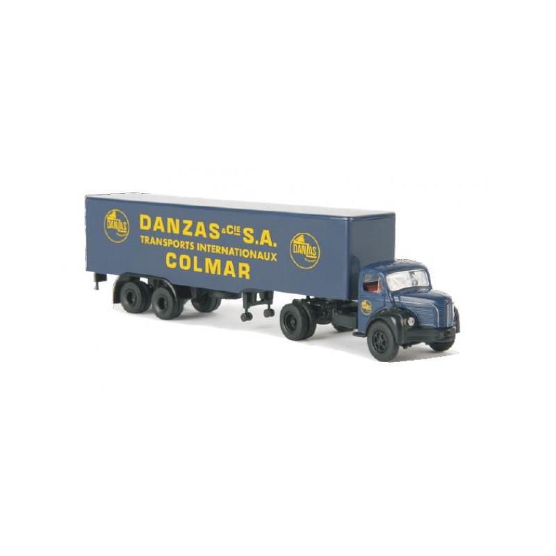 Semi Berliet TLR 8 tôlé enseigne Danzas - Colmar - H0