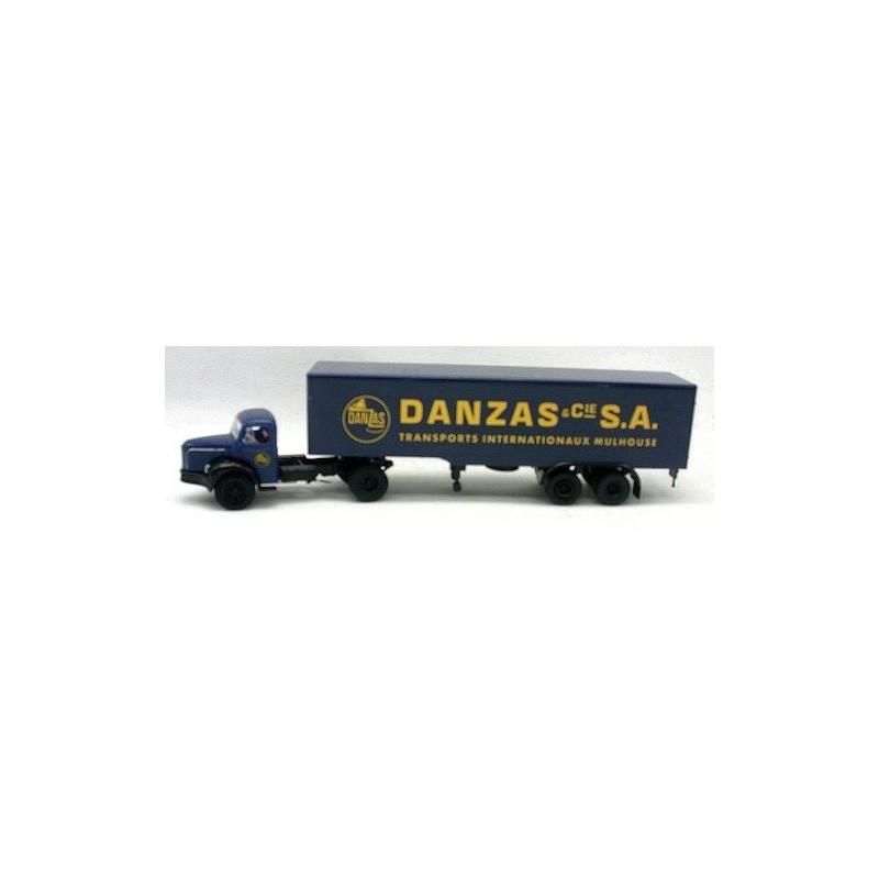 Semi Berliet TLR 8 tôlé enseigne Danzas - Mulhouse - H0