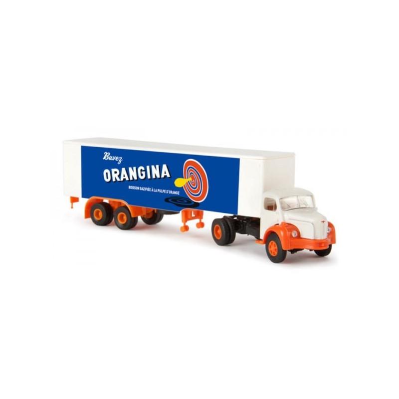 Semi-remorque tôlé Berliet TLR 8 enseigne Orangina - H0