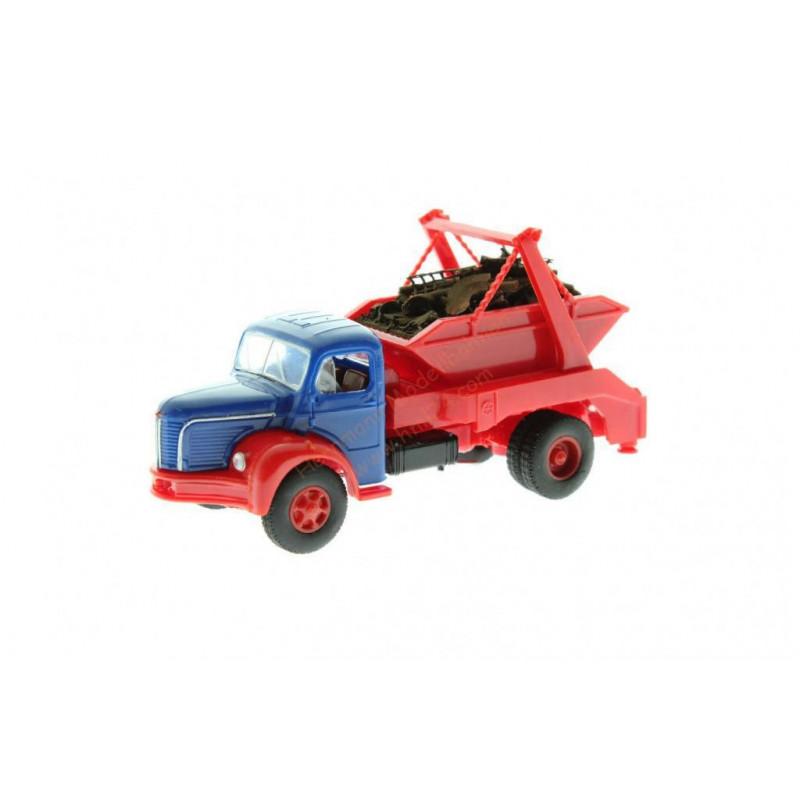 Berliet GLR 8 benne - bleu / rouge - + chargement ferraille - époque III - H0