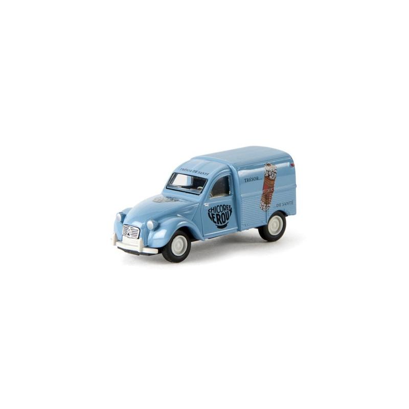 2CV fougonnette 1961 AZU - enseigne CHICOREE LEROUX - époque III - H0