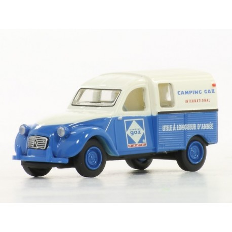 2CV fougonnette 1961 AZU - enseigne CAMPING GAZ - H0