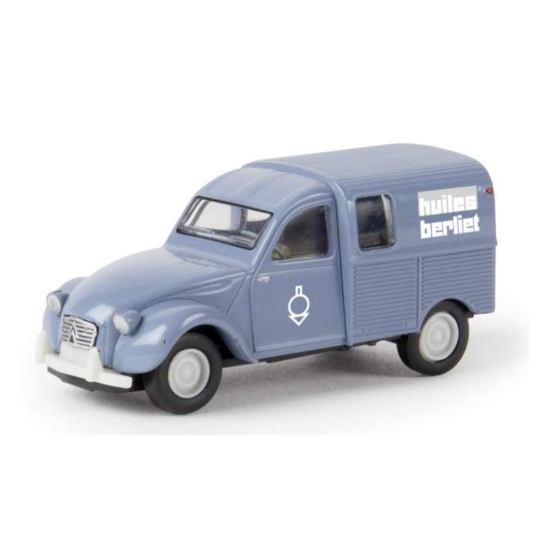 "2CV AZU Fourgonnette 1961 - enseigne ""Huiles BERLIET"" - époque III - H0"