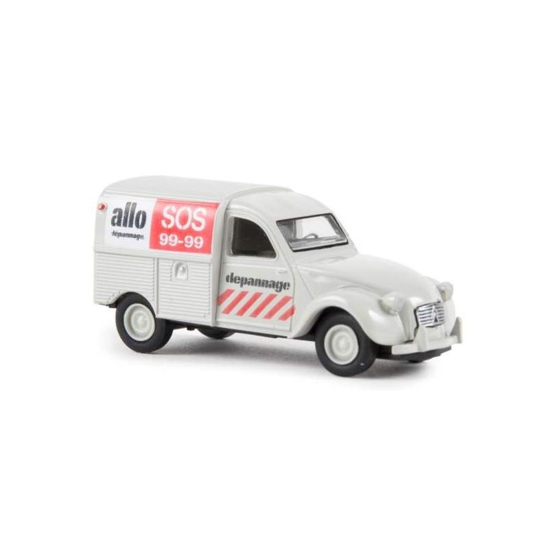 "2CV fourgonnette AZU 1961 - enseigne ""SOS 99-99"" - H0"