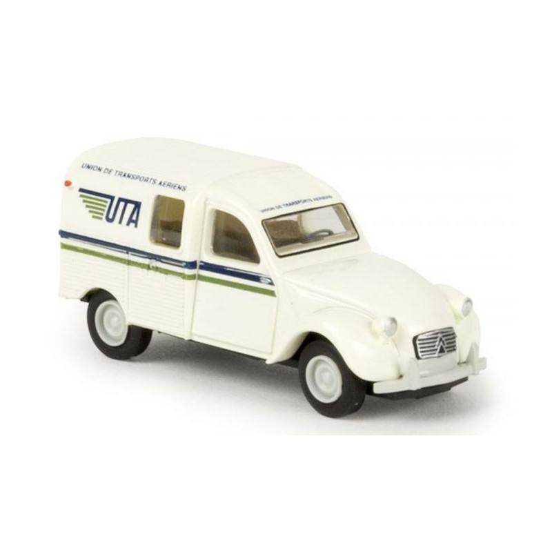 2CV fougonnette 1961 AZU - enseigne UTA - H0