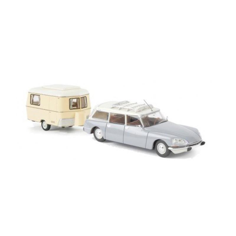 Citroën ID 21 break bicolore + caravane Eriba - H0