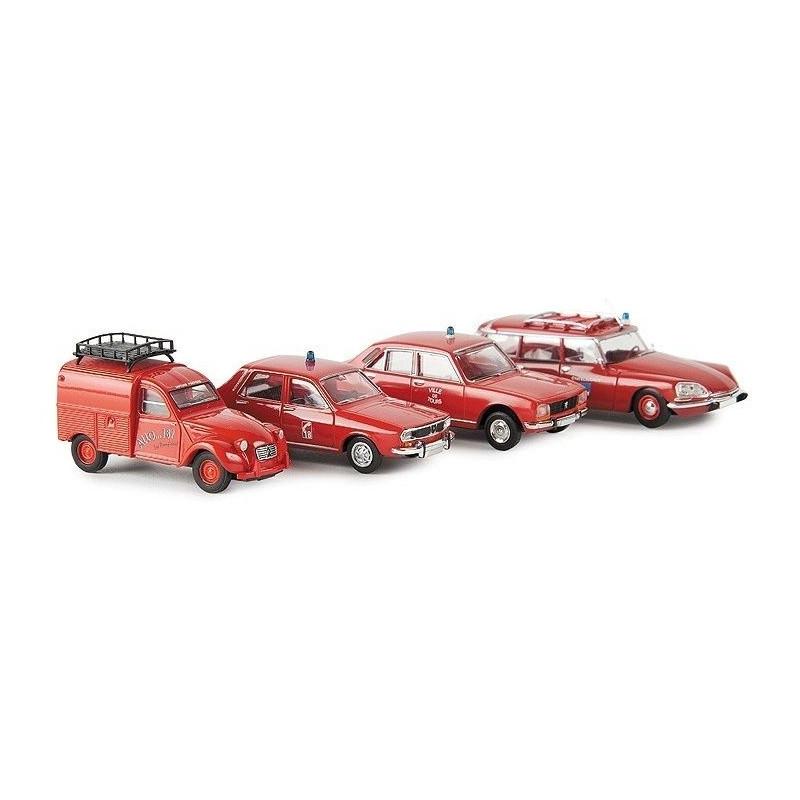 4 véhicules pompiers : 2CV fourgonnette / R12 / 504 / DS  break - H0