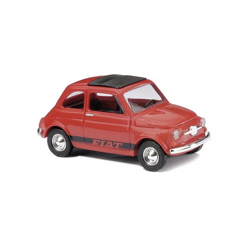 Fiat 500 1965 rouge toit fermé siglée Fiat - H0