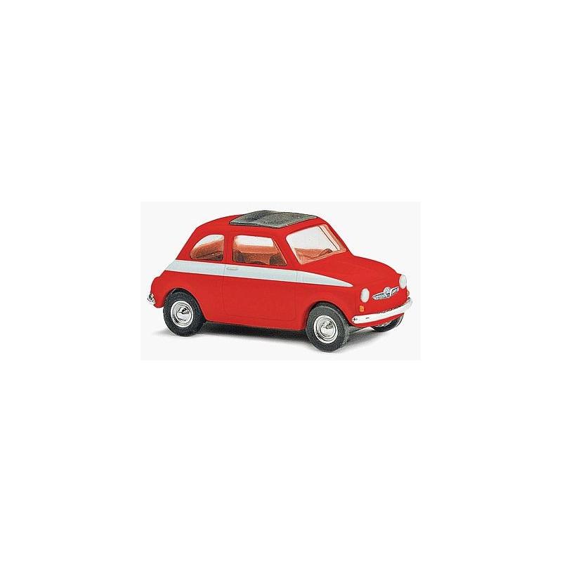 Fiat 500 sport 1965 rouge bande blanche toit fermé - H0