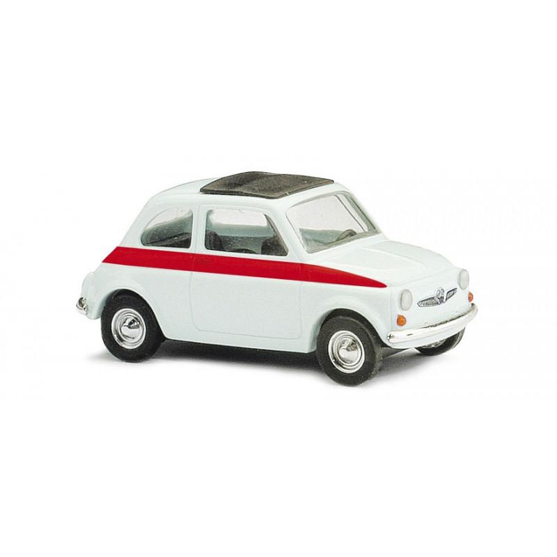 Fiat 500 sport 1965 blanche bande rouge toit fermé - H0