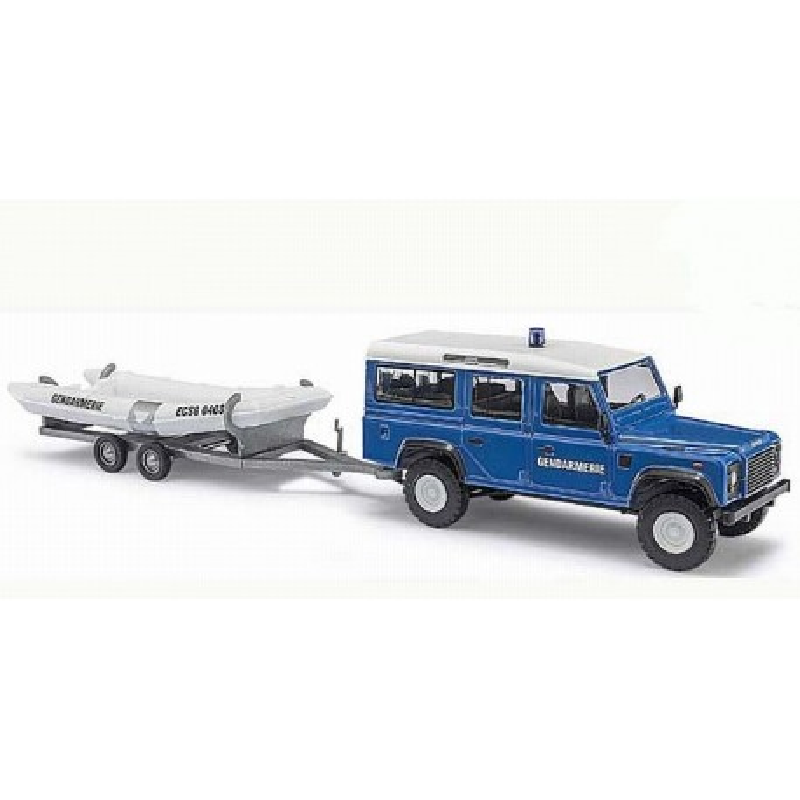 Land Rover Defender Gendarmerie avec canot pneumatique - H0