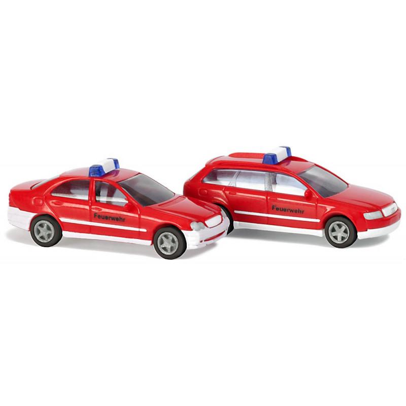 Mercedes classe C Limousine et Audi A4 Avant pompier - N