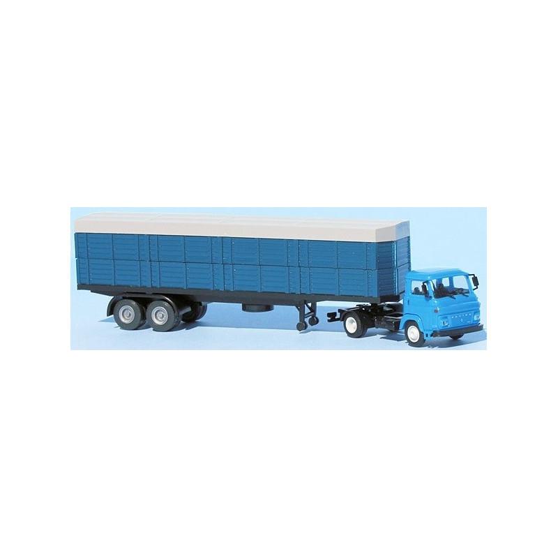 Tracteur SAVIEM SM8 T 2 essieux + semi-remorque bâchée - H0