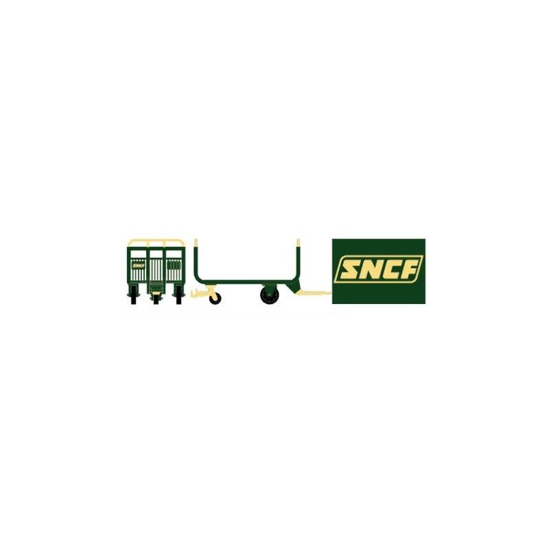 Chariots postaux verts/jaunes logo SNCF encadré - H0