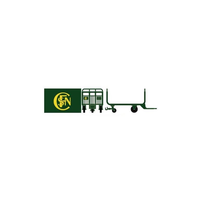 Chariots postaux verts logo monogramme SNCF - H0