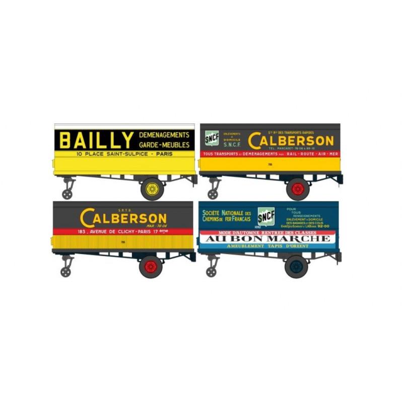 Remorques UFR enseignes BAILLY / CALBERSON / AU BON MARCHE - H0