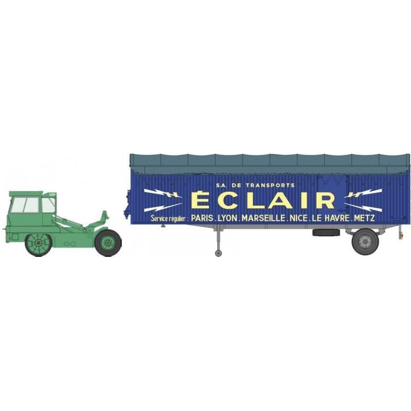 "Tracteur Kangourou vert + remorque Kangourou ""ECLAIR"" bâchée simple essieu - H0"