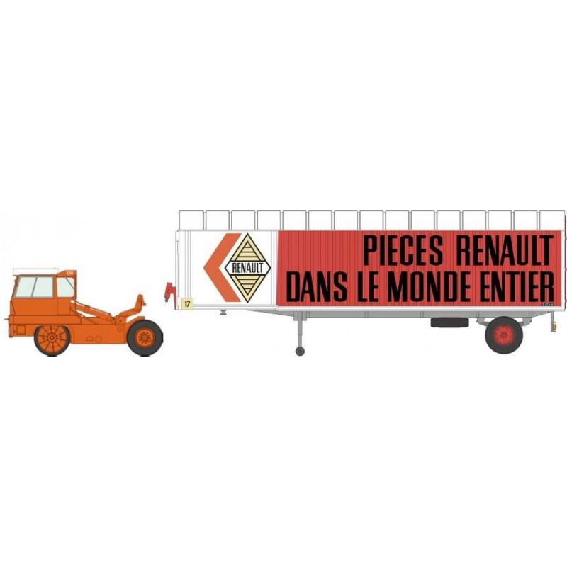 "Tracteur Kangourou orange + remorque Kangourou ""RENAULT"" tôlée simple essieu - H0"