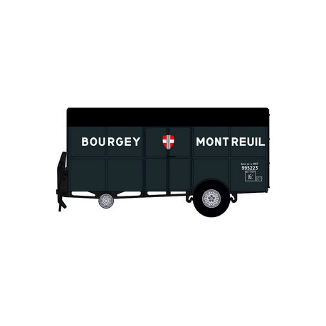 """Tracteur Panhard Movic """"Bourgey Montreuil"""" vert + remorque UFR """"Bourgey montreuil"""" grise - H0"""