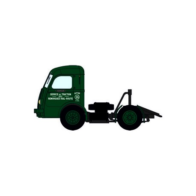 "Tracteur Panhard Movic ""APTM"" vert + remorque UFR fourgon alu - H0"