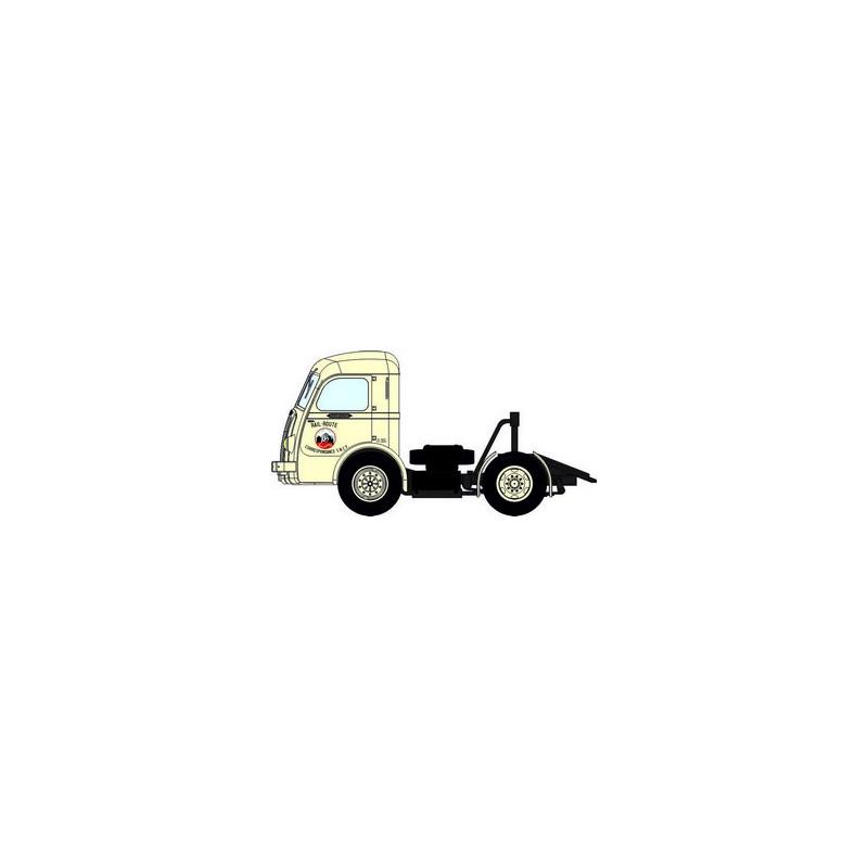 """Tracteur Panhard Movic """"Rail Route"""" crème + remorque UFR """"STEF"""" blanche - H0"""