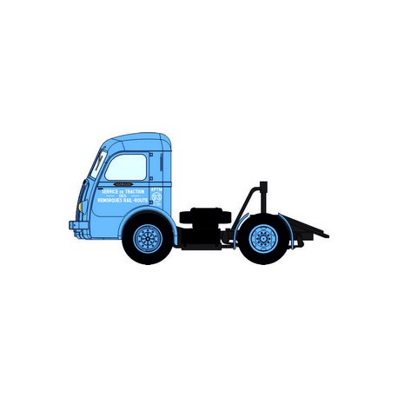 "Tracteur Panhard Movic ""APTM"" bleu + remorque UFR ""STEF"" blanche - H0"