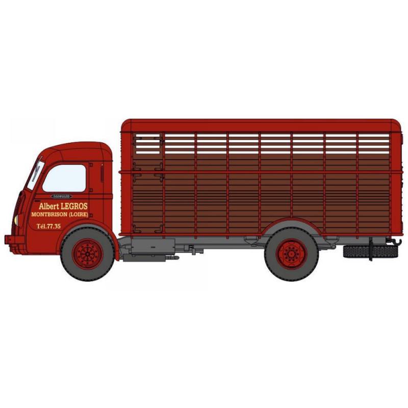 Panhard Movic bétaillère grand animaux - rouge brique / marron  - H0