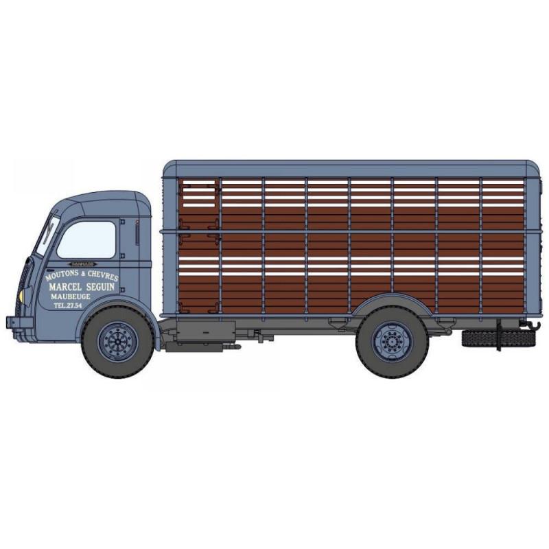 Panhard Movic bétaillère petits animaux - bleu / marron - H0