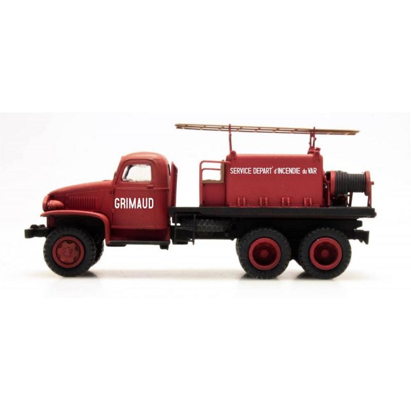 "GMC Pompiers - cabine tôlée ""GRIMAUD"" - H0"