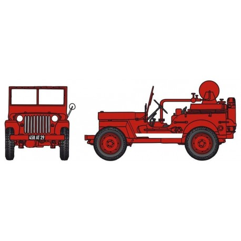Jeep pompiers CCFL + motopompe Guinard 6m3 - bande blanche - H0