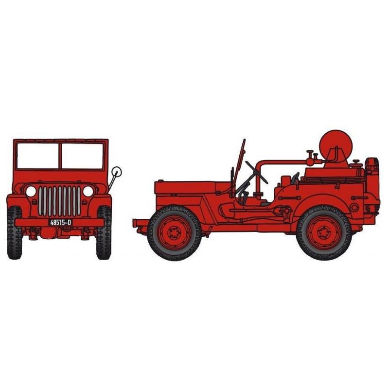 Jeep pompiers CCFL + motopompe Guinard 6m3 - H0