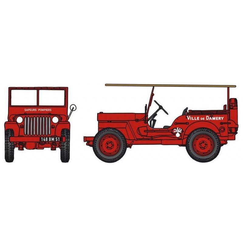 Jeep pompiers CCFL + échelle - Ville de Damery - H0