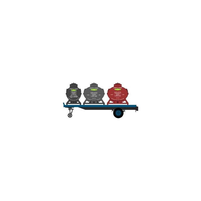 Remorque plateau UFR + 3 containers enseigne Simotra - H0