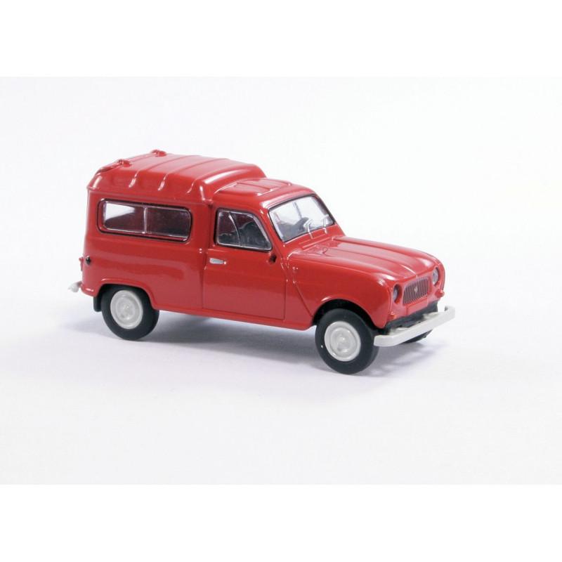 Renault R4 fourgonnette vitrée 1961 - rouge - H0