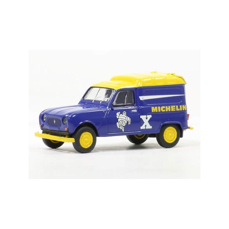 Renault R4 fourgonnette enseigne Michelin 1961 bleue - H0