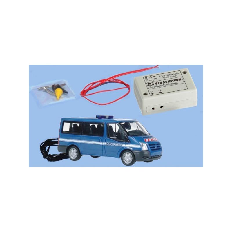 Ford Transit V gendarmerie + rampe clignotante fonctionnelle - H0