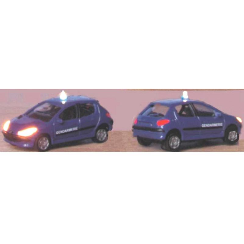 Peugeot 206 gendarmerie + gyrophare clignotant et phares fonctionnels - H0