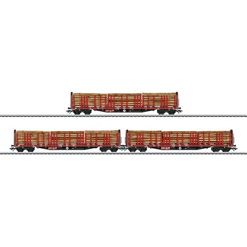 Wagons à ranchers type Roos 639 de la DB AG + bois véritable - H0