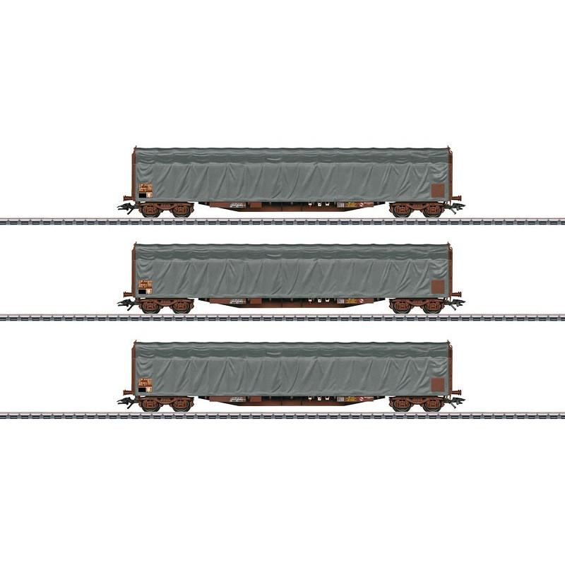 3 wagons à bâche coulissante type Rils de la SNCF - H0
