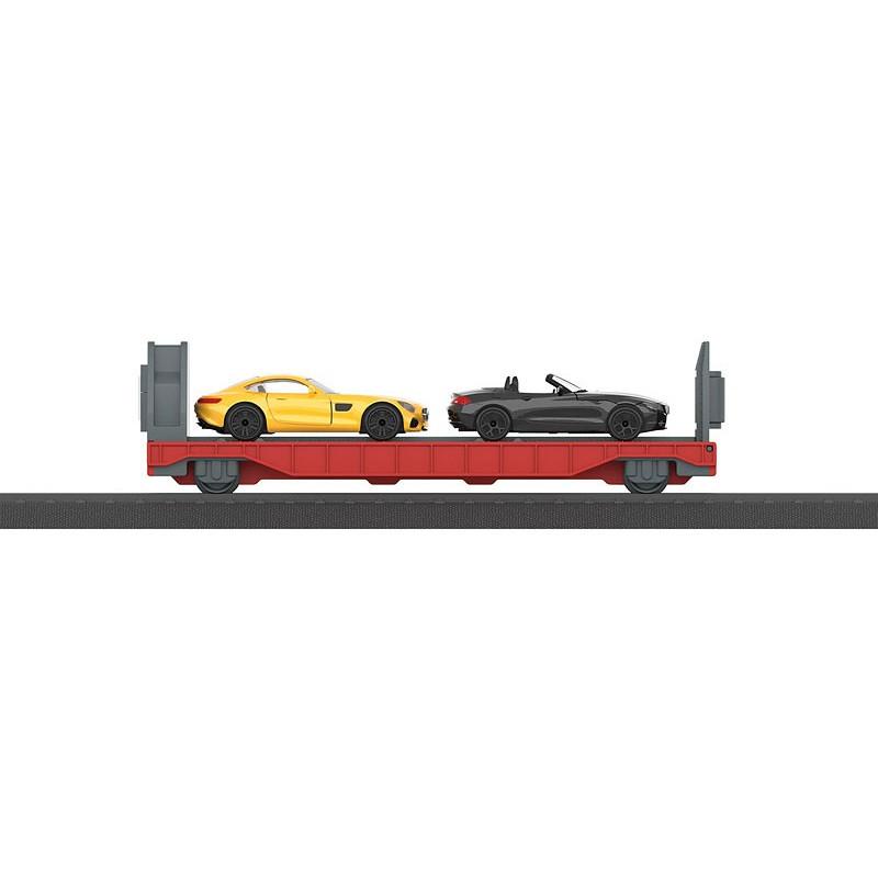 """Wagon pour le transport d'automobiles chargés de 2 voitures particulières """"My World"""" - H0"""